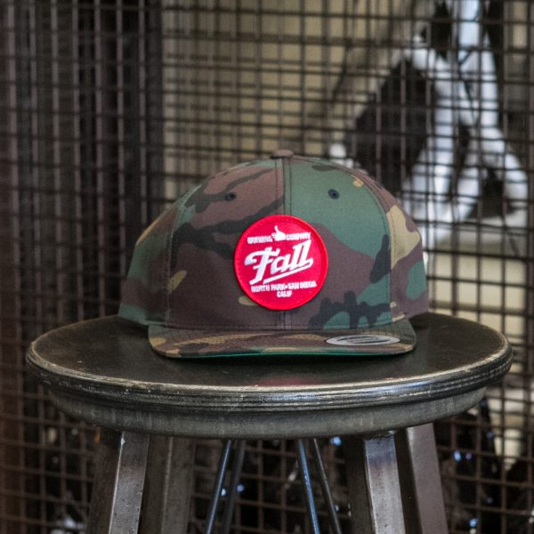 Camo trucker Fall Brewing Company red dot patch hat
