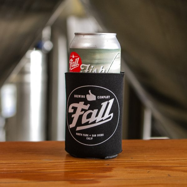 Fall Brewing Logo Koozie with Fish On Can inside