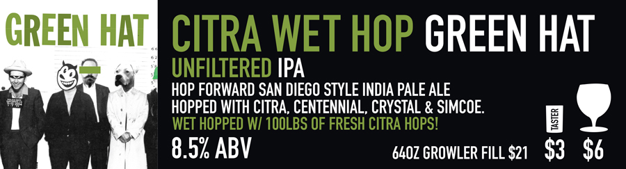 Tasting Room Sign of Green Hat Wet Hop Beer