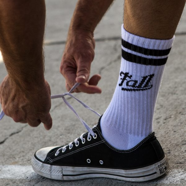Black and White striped drinking sock in Chuck Taylor Shoes