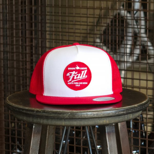 Red and white trucker Fall Brewing Company red dot patch hat