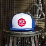 Blue and white trucker Fall Brewing Company red dot patch hat