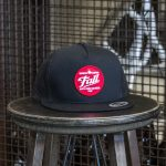 Black trucker Fall Brewing Company red dot patch hat