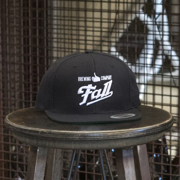 Black embroidered Fall Brewing Company script hat