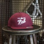 Maroon embroidered Fall Brewing Company hat