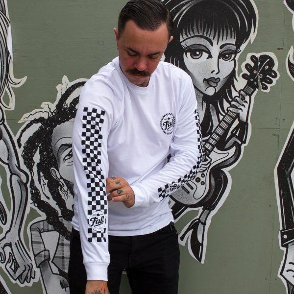 Checkers Long Sleeve - White Sleeve